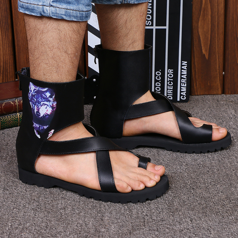 2017 Summer Style Men Flats Shoes Fashion Ankle Wrap Men Boots Black Cool Gladiator Sandals Men Open Toe Slippers Big Size 46