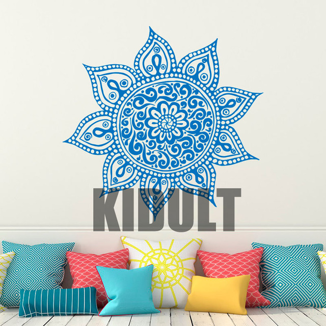 Lotus Flower Wall Art aliexpress : buy wall decal mandala vinyl sticker lotus flower