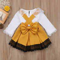 Newborn Kids Baby Girl Lace Romper Bodysuit Bow Dress Outfits Set
