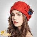 Bowknot de Lana de Flores Sombrero de fedora Conciso Señora Elegante Sombreros Del Cubo De Lana Del Sombrero Del Otoño y el Invierno Cálido B-0757