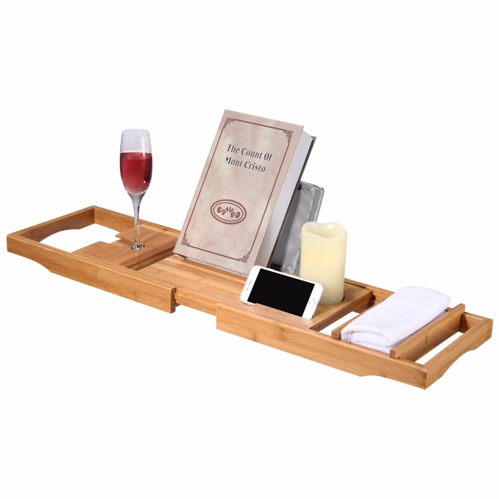LANGRIA 100% Natural Bamboo Bathtub Caddy Over the Tub Tray ...