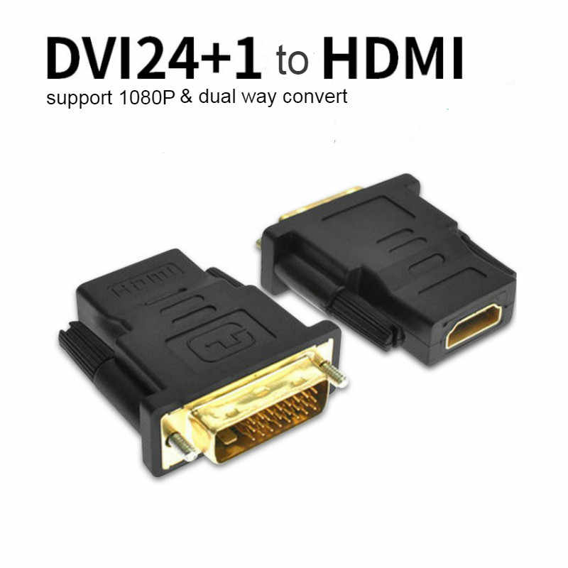DVI 24+1 Male to HDMI Female Adapter Converter Gold Plated DVI 24+1 to HDMI Converter 1080P for PC PS3 Projector HDTV