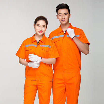 Summer Reflective Thin Work Clothing Sets Unisex Workwear Suits short Sleeve Jacket+Pants Working Factory Uniforms Repair Worker 2