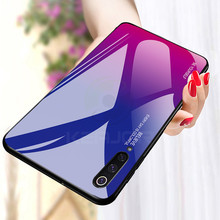 Keajor Glass Case for Smasung Galaxy A50 A70 Gradient TPU +Tempered Phone Cover On For Samsung A30 A40 S10 S10+
