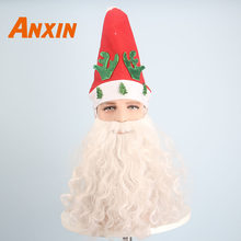 Anxin Short Deep Wavy White Santa Claus Wig Fancy Dress Costume And Beard Set Christmas Halloween Party Cosplay Wig(China)