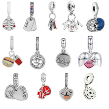 Fit Pandora Charms Bracelet 100% 925 Sterling Silver Dangle Charm Beads for Jewelry Making Free shipping