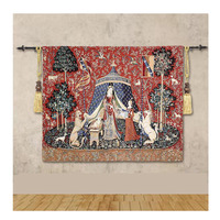 High quality Belgian art tapestry cloth art soft dress lady and unicorn series my only desire Picture hanging hang the canvas