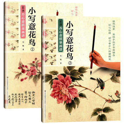 2pcs/set Chinese Traditional Fine Line Gongbi Biao Miao Painting Drawing Art Book For Xie Yi Flowers And Birds Ink Drawing