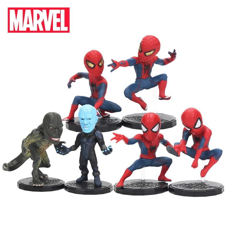 6.5-8cm 6pcs Marvel Toys Avengers Spiderman Lizardman Figure Set Superhero Spider-man PVC Action Figure Collectible Model Dolls