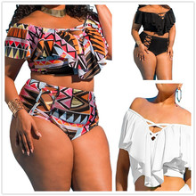 Фотография 2018 Brazilian women push bikini plus size hot wrinkles off shoulder swimsuit high waist swimwear summer bathing beachwear biqui