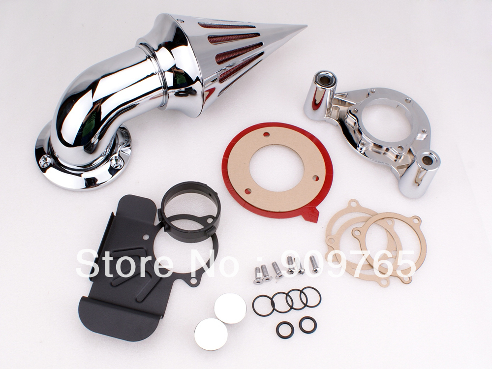 Motorcycle Accessories Parts 1 Set Chrome Cone Spike Air Cleaner Intake Filter Kit For Harley Dyna Touring 2008 - 2012