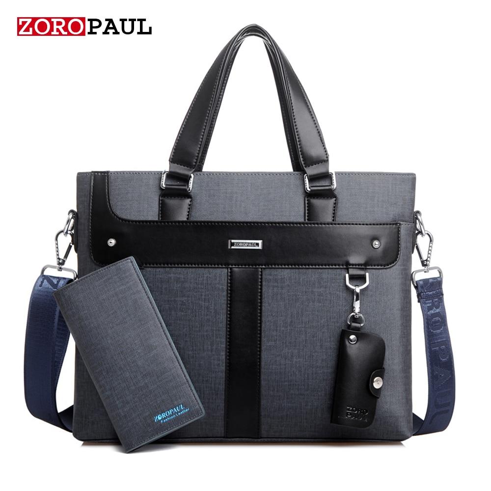 ZOROPAUL NEW 2017 Men Leather soft Handbag Volume Business Briefcase Men's Top Handle Fashion Daily Carry Tote Shoulder Man Bag