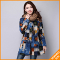 Sign national wind fall and winter long section of female ink printing cotton padded cardigan loose big yards #0364