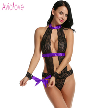 Avidlove One Piece Lingerie Sexy Hot Erotic Teddies Bodysuit With Cuff Women Lace Body Suit Plus Size Porno Costume Intimates