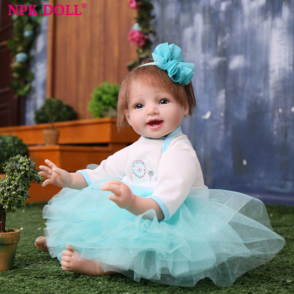 NPKDOLL 52CM /21' Reborn baby dolls Simulation of Regenerated Doll Wearing a Hat Reborn Lifelike Soft Rubber Baby Companion Doll a cat a hat and a piece of string