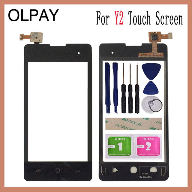 US $7 3 |OLPAY 4 0'' Touch Glass Panel For Tecno Y2 Touch Screen Digitizer  Glass Sensor Tools Free Adhesive+Clear Wipes-in Mobile Phone Touch Panel