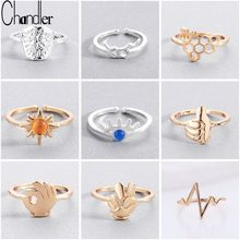 Chandler Simple Small Alloy Zinc Ring For Women Gesture Bee Honeycomb Lightening Heartbeat Chemistry Rings Set Bague Anel Gift(China)