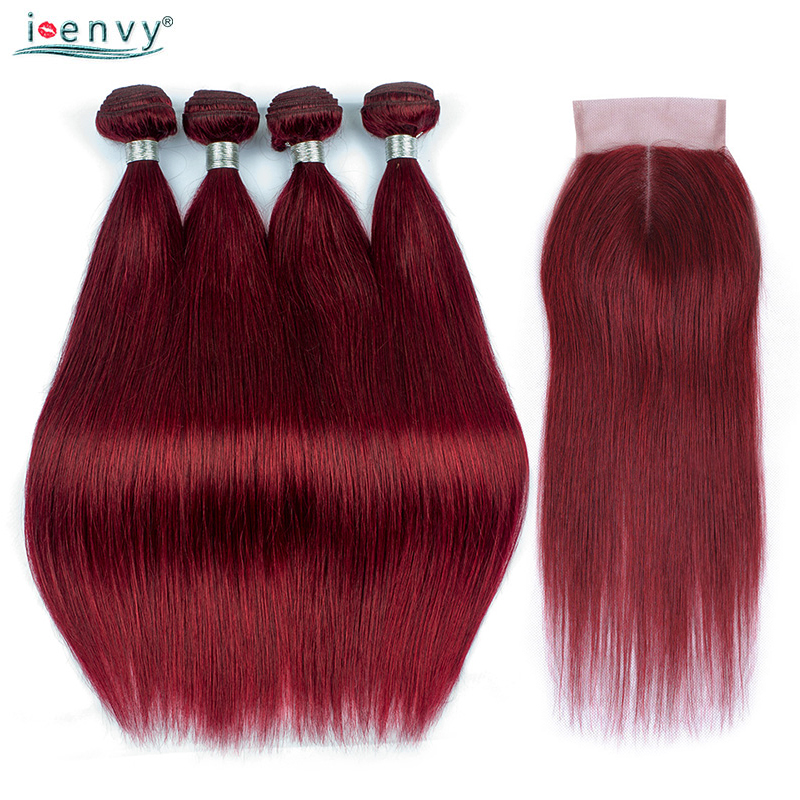 I Envy Straight 99J Burgundy Bundles With Closure Peruvian Hair Weave Bundles Wine Red Bundles With Closure Colored Hair Nonremy