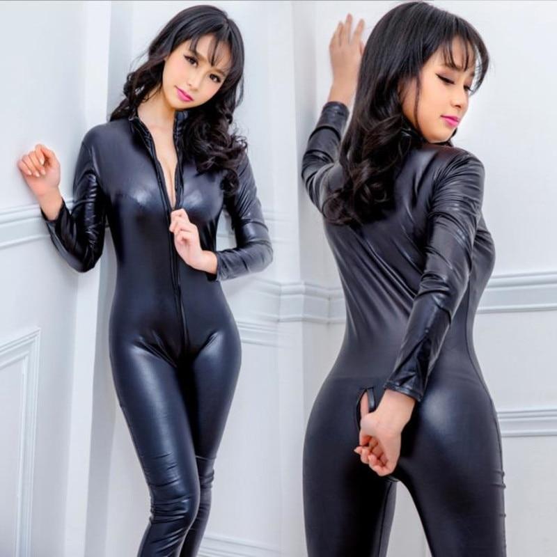 Sexy Babe Catwoman Costum Fetish Black Lycra Catsuit Mask Iwank 1