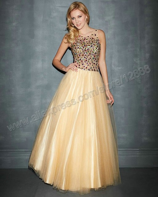 Black And Gold Color Ball Gown Floor Length Sleeveless Evening Gowns