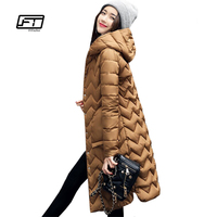 Fitaylor New 2017 Winter Women Jacket Warm Hooded Parkas Long Snow Quilted Slim Edge Lattice Coat