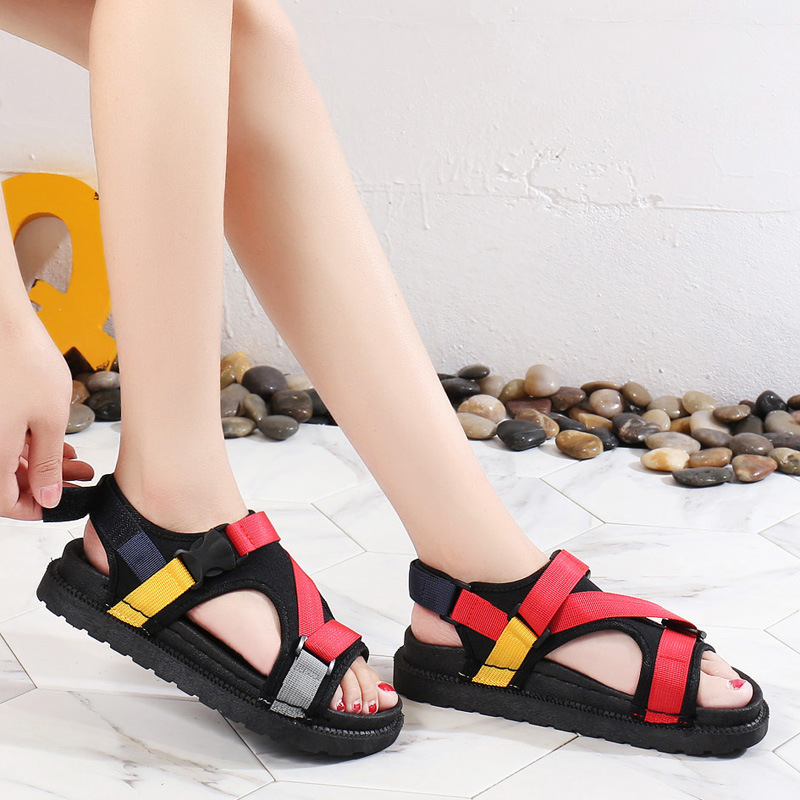 Open Toe Front Rear Strap Flat with Platform Sandals Women Mixed Colors Mixed Colors Casual Ladies Shoes Fashion Basic Sandals 2