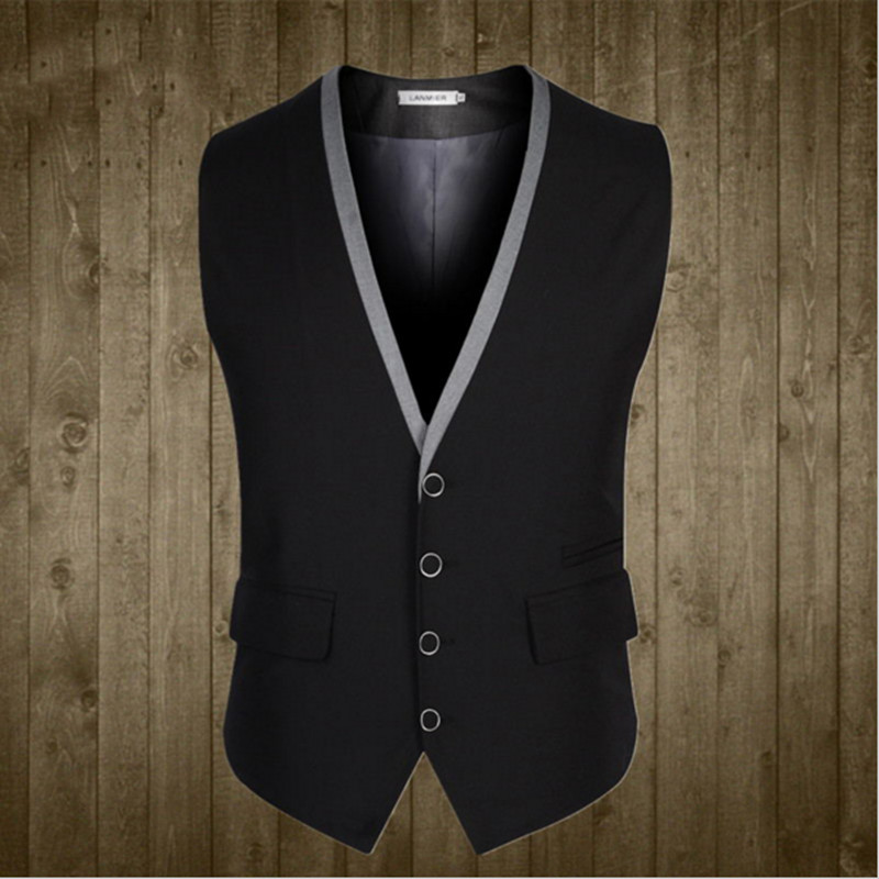 Business Men Suit Vest Buttons V Collar Dress Slim Fit Male fashion Sleeveless Formal Wedding Waistcoat Brand Mens Suit Vests
