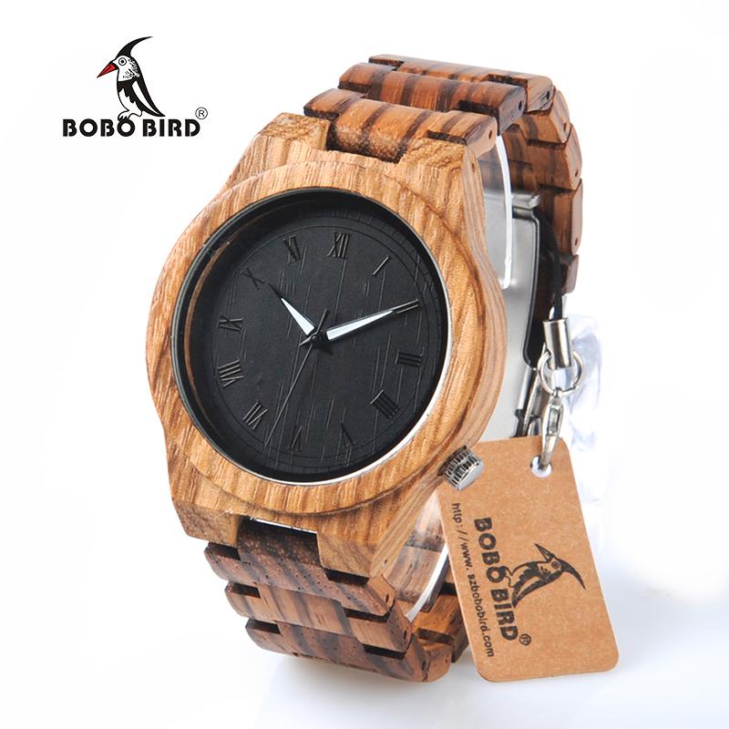Prix pour Bobo bird m30 mens montres zèbre en bois montre en bois plein bande Montre À Quartz Pour Les Hommes comme Cadeau Accepter OEM Personnaliser Relogio
