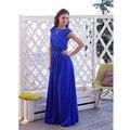 De las mujeres elegantes azul larga dress vintage vestidos maxi sin mangas vestidos casual vestidos de verano ropa de mujer piso-longitud dress xxl