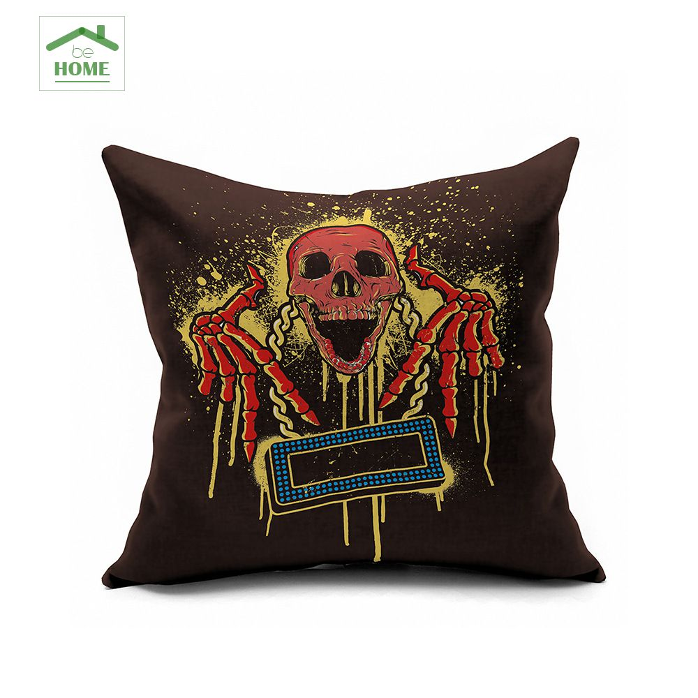 Black skull chair - 2016 Behome Pink Black Skull Rock Halloween Horror Nights Haunted House Decoration Printing Cotton Sofa Cushions 45 45cm