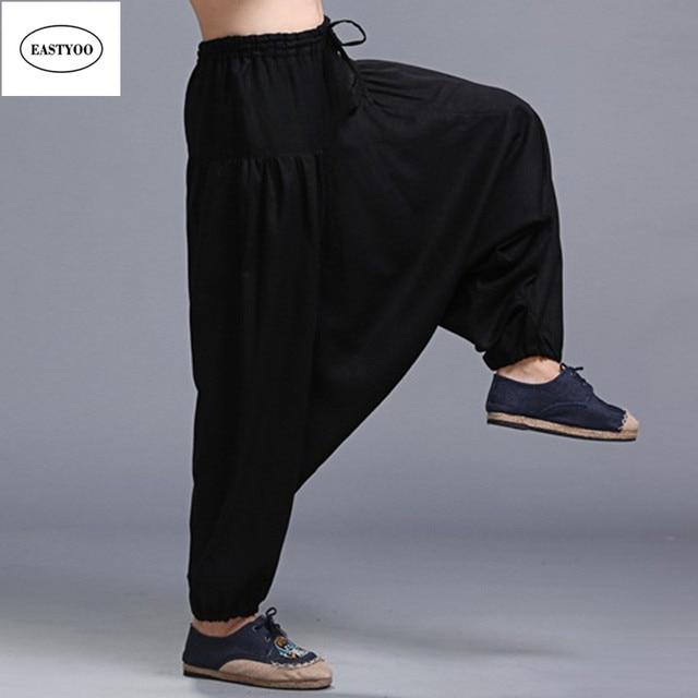 Ben noto Nero Harem Pantaloni Uomo Pantaloni di Lino Gamba Lunga Pantaloni  HL13