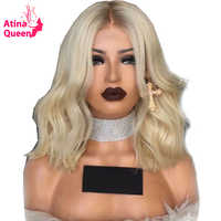 Atina Queen 150 Density 4/60 Platinum Blonde Short Lace Front Human Hair Wigs Pre Plucked Ombre Wavy Cut Bob With Baby Hair Remy