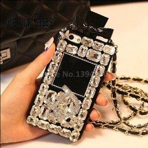 Image 5 - 高級ブリンブリンクリスタルダイヤモンドストラップiphone 11 プロmax x xr xs最大 6 6s 7 8 プラスサムスンS8 S9 S20 S10 電話ケース