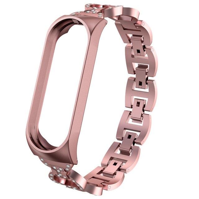 Pulseira de aço inoxidável para xiaomi mi band 3 e 4, bracelete de metal inox pulseiras pulseiras 3
