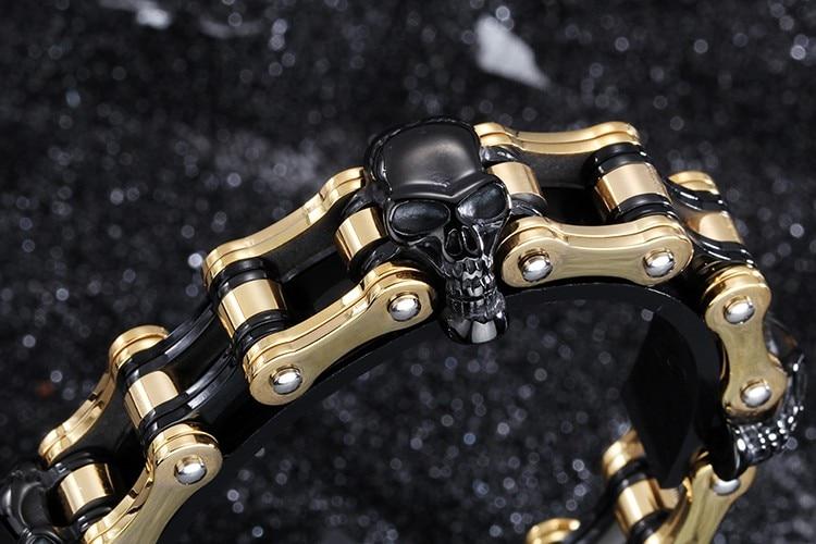 18 mm wide heavy men's bracelets 2016 black gold skull bracelet male pro-biker motorcycle jewelry chain link bracelet men 23cm 18mm heavy wide stainless steel bracelet men biker bicycle motorcycle chain men s bracelets mens bracelets