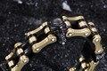 18mm de largura pesado dos homens pulseiras 2016 ouro negro pulseira crânio masculino pro-motociclista da motocicleta elo da cadeia de jóias pulseira de homens