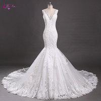Waulizane V Neck Mermaid Wedding Dresses Beading Crystals Appliques Tulle Chapel Train Illusion Elegant Sleeveless Bride