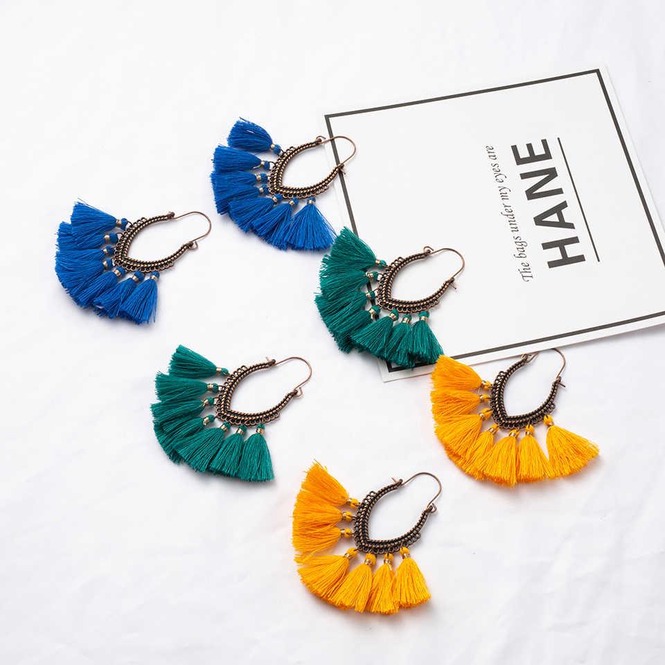 Fringe Vintage Boho Bohemian Ethnic Tassel Drop Dangle Hanging Earrings for Women Female 2018 New Trendy Jewelry Accessories