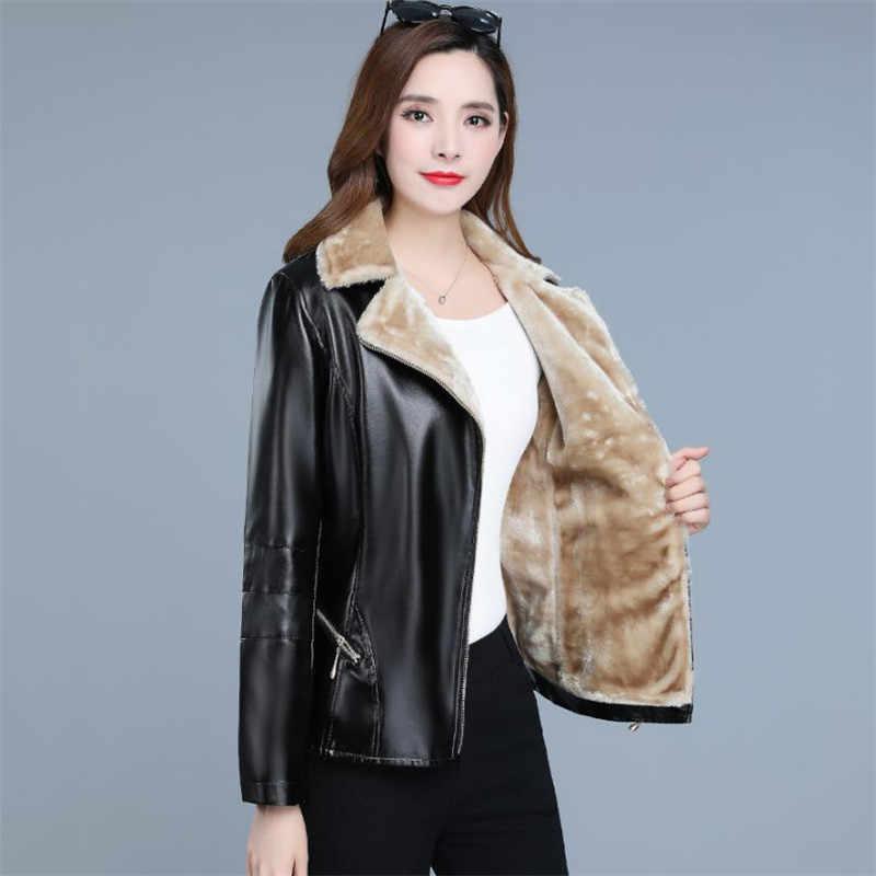 Kış deri ceket kadınlar 2019 yeni sonbahar kore moda kısa ince artı kadife siyah şarap kırmızı XL 7XL artı boyutu ceket LR249