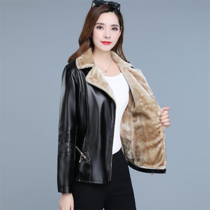 Winter   Leather   Jacket Women 2019 New Autumn Korean Fashion Short Slim Plus Velvet Black Wine Red XL 7XL Plus Size Coat LR249