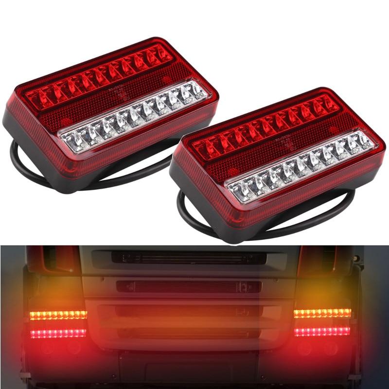 2PCs 20 LED 12V Tail Light Waterproof Car Truck Trailer Camper Stop Rear Reverse Indicator Lights Turn Signal Lamp