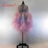 Sexy Muslim Long Sleeve Feather Evening Formal Dress Thổ Nhĩ Kỳ Ả Rập Robe Dubai Moroccan Kaftan Evening Gowns Prom Dresses