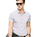 Hot Sell Men Summer Plaid Shirts Short Sleeve Turn-Down Collar Single Breasted Clothes Casual Tops Brand High Quality Shirts New