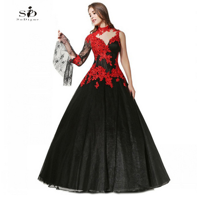SoDigne Lace Appliques Black Wedding Dresses 2018 Masquerade Appliqued Ball Gown Tulle Bridal Gowns Arabic Long Sleeves Dress