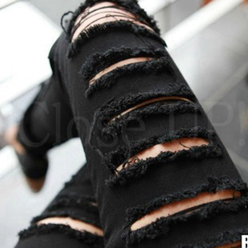 Lguc.H 2018 Ripped   Jeans   Woman Trendy Korea   Jeans   Tights Distressed   Jeans   Women Unique Teenage Torn Trouser Black White 26 XS 32