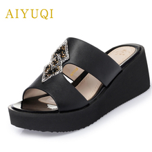 AIYUQI2019summer new genuine leather female slippers high-heeled thick bottom large size 41#42#43# fashion shoes