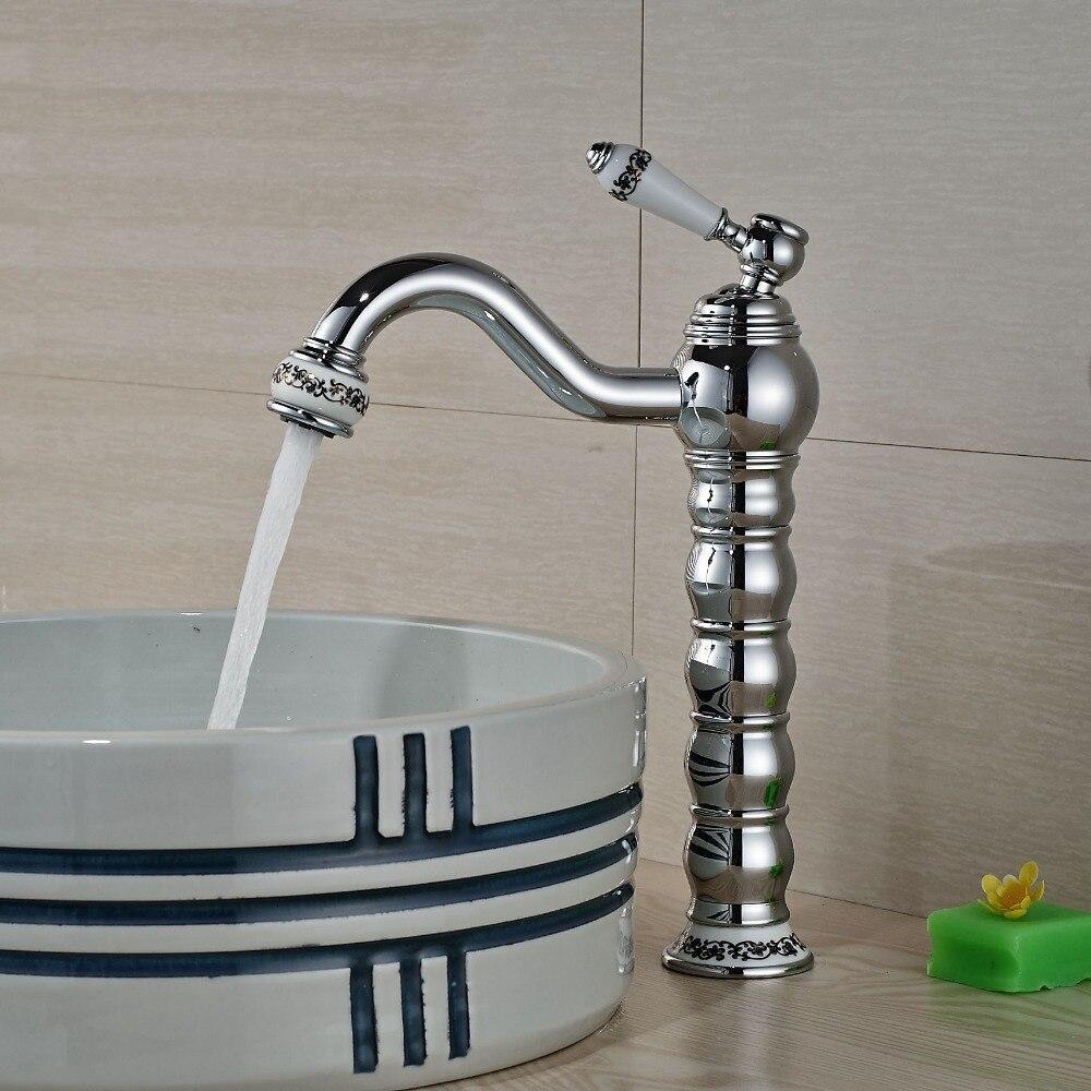Brass Bathroom Single Handle Mixer Tap Chrome Finished: Single Handle Chrome Brass Bathroom Basin Faucet Single