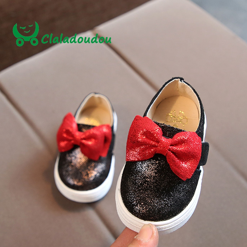Claladoudou 12-14CM Baby First Walkers Pu Leather Bling Bowtie Infant Girls Soft Sneakers For Baby Toddler Outwear Flat Shoes
