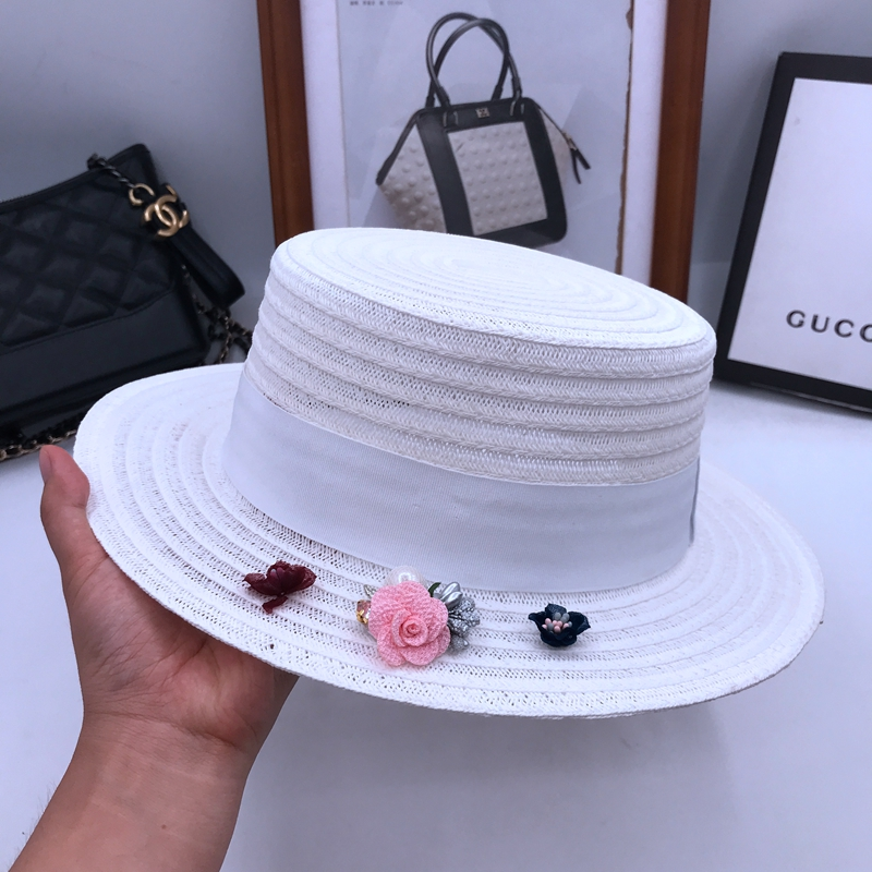 Flat straw hat female linen hat sun hat small flowers fresh sunscreen mo han edition cap short eaves fashion