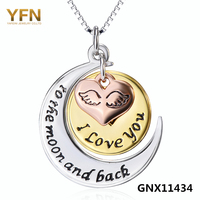 GNX11434 100 Real Pure 925 Sterling Silver Necklace I Love You To The Moon And Back